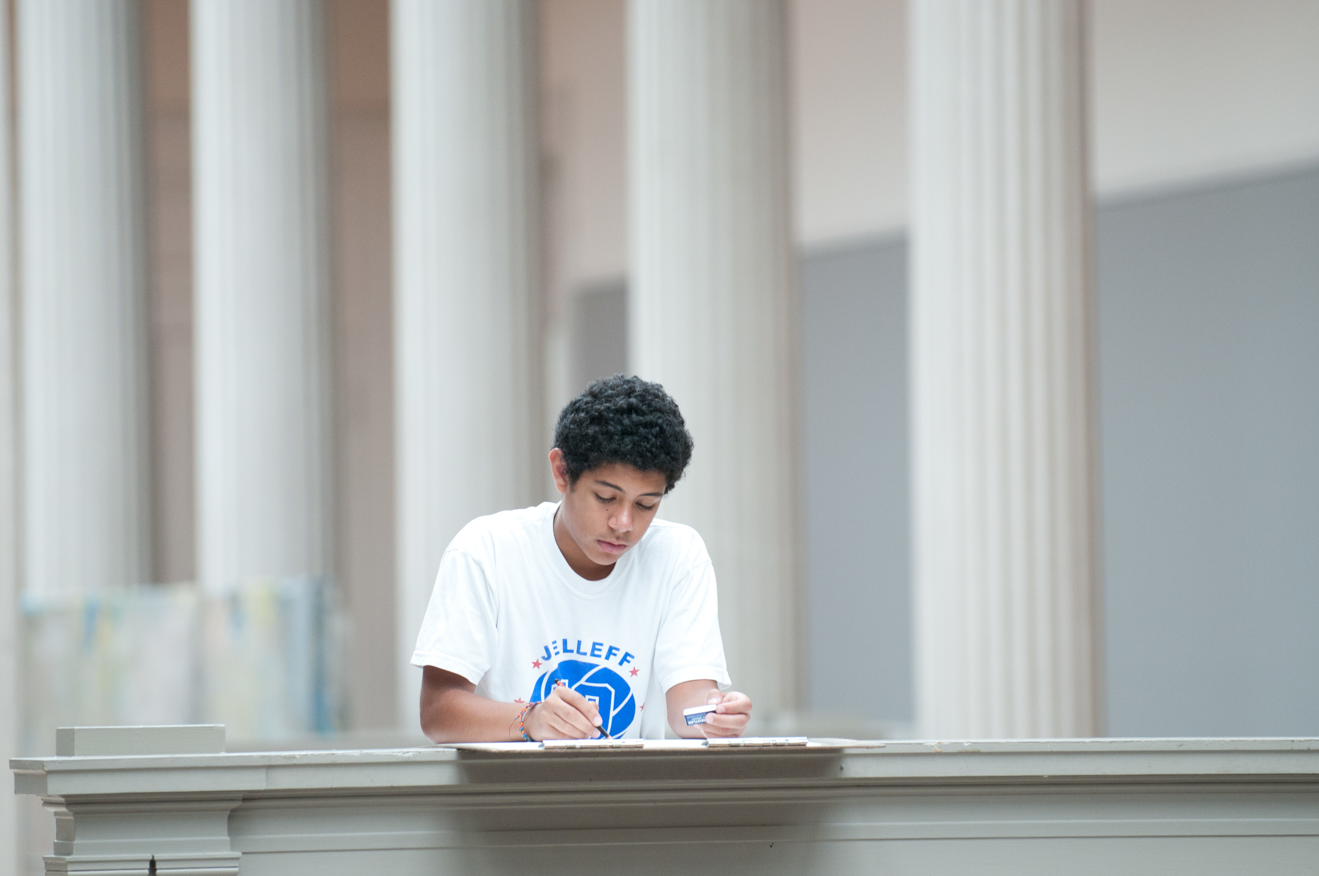 Photo of student drawing in the Corcoran Flagg building