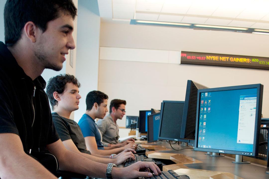 Digital marketing students at the computer lab