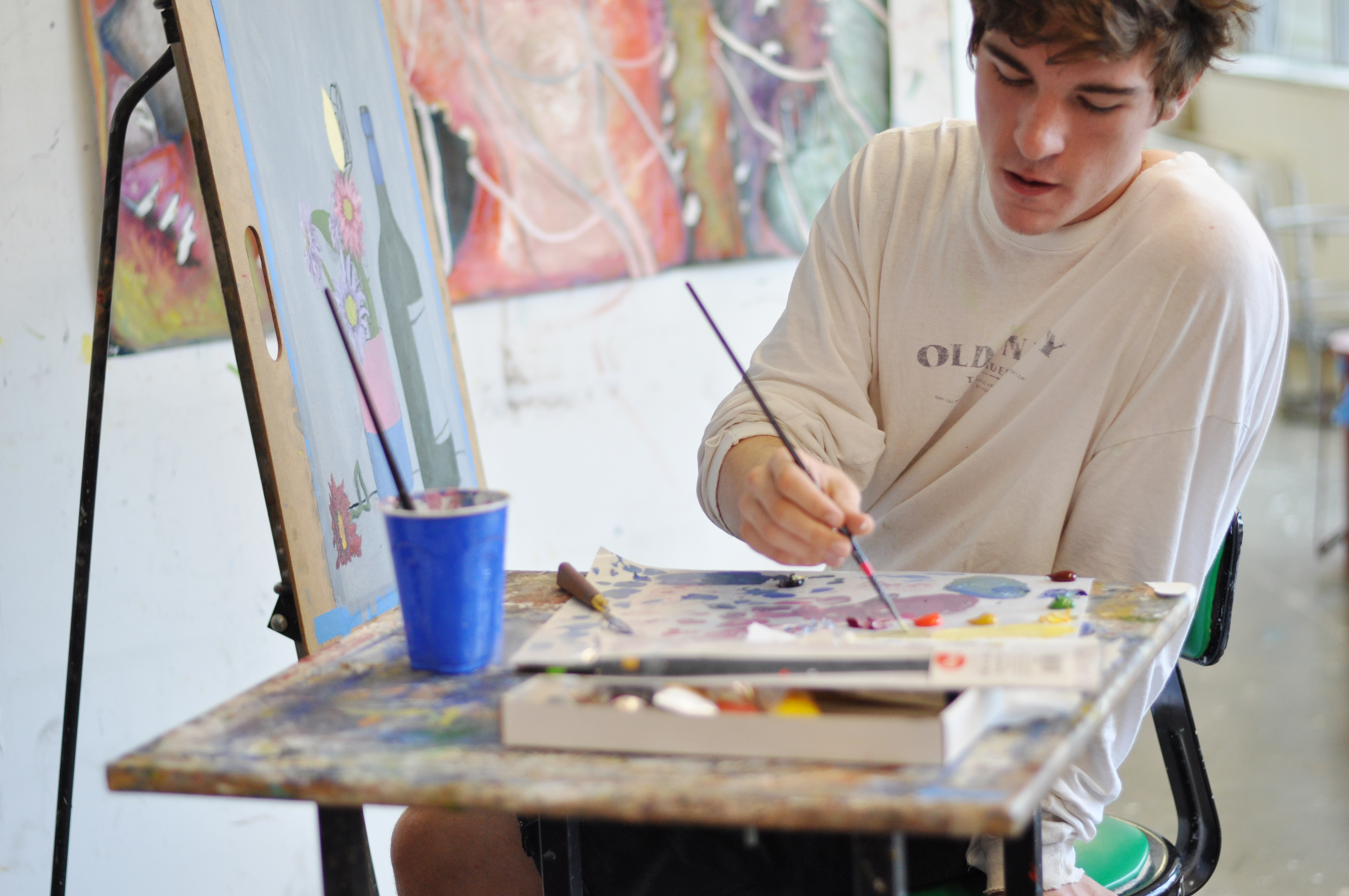 Photo of pre-college student in painting class