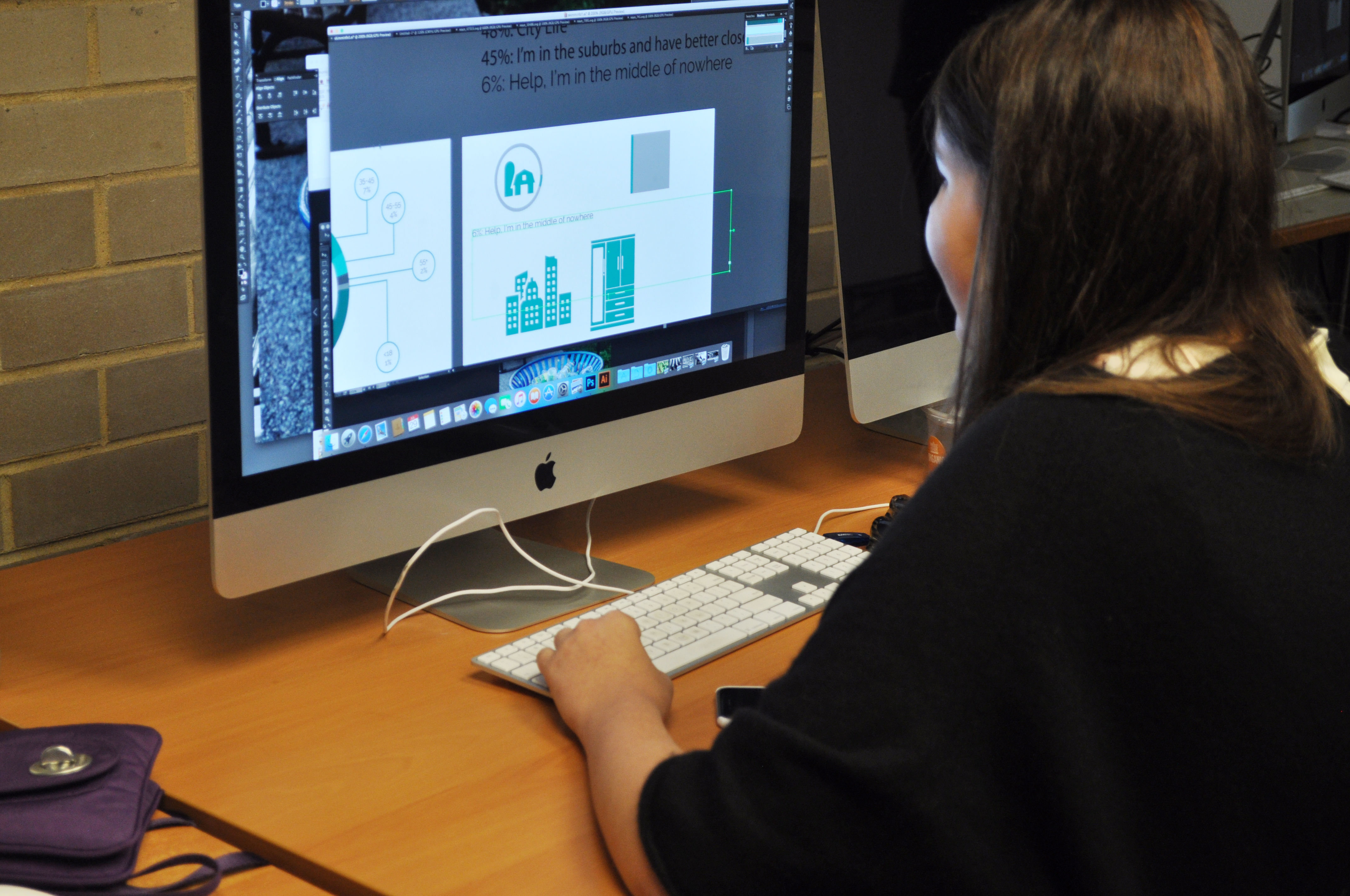 Photo of student doing graphic design