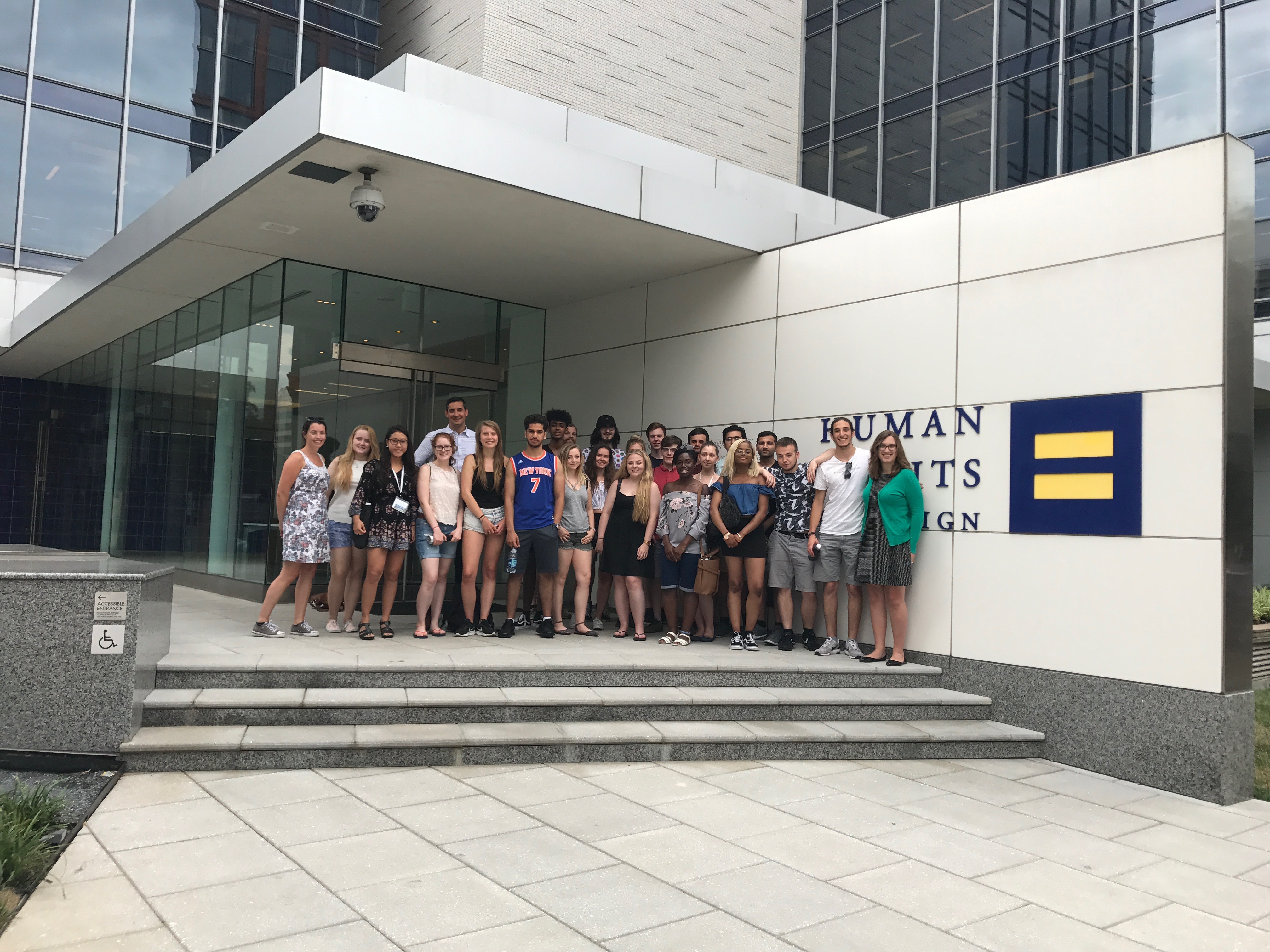 Group photo of students at the Human Rights Campaign headquarters