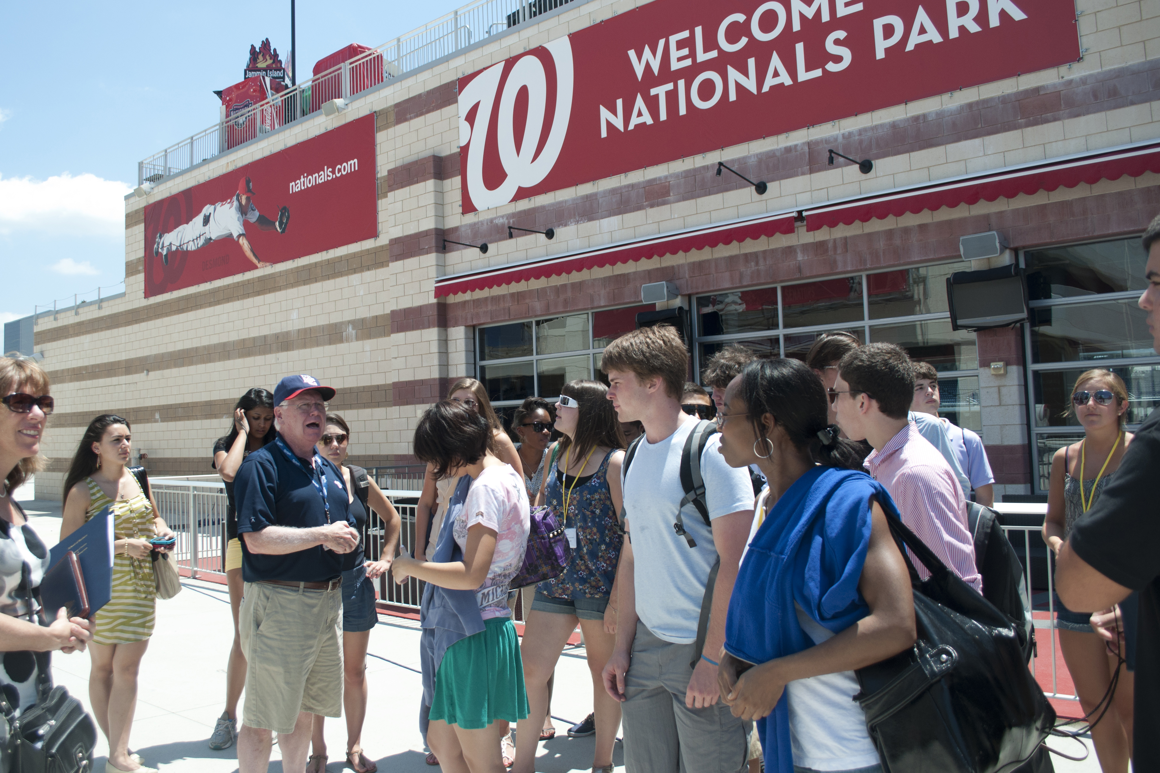 Photo of students at the Washington Nationals ball park.