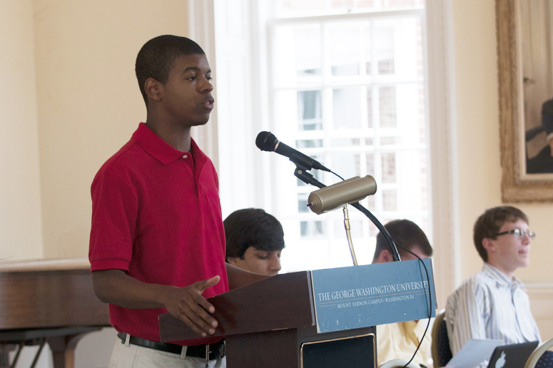 A student participating in a mock trial.