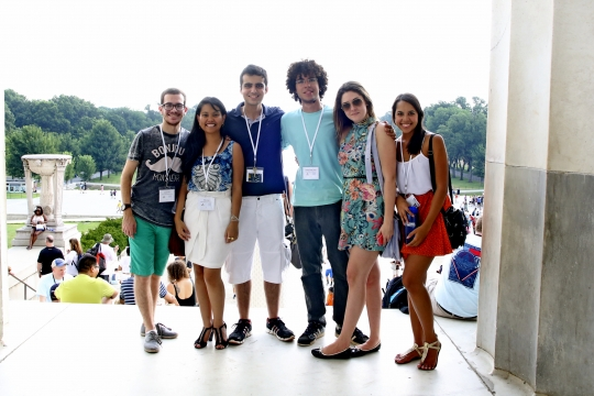 Group of international students posing while visiting the National Mall