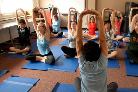 Psychology Summer Institute students doing yoga