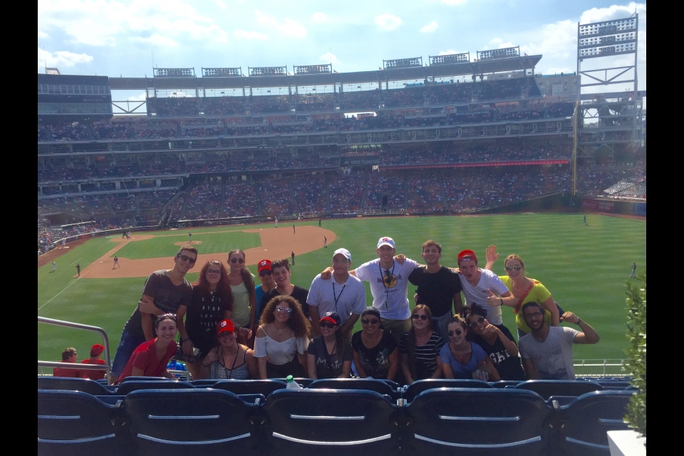 Cyprus students at a Nationals baseball game