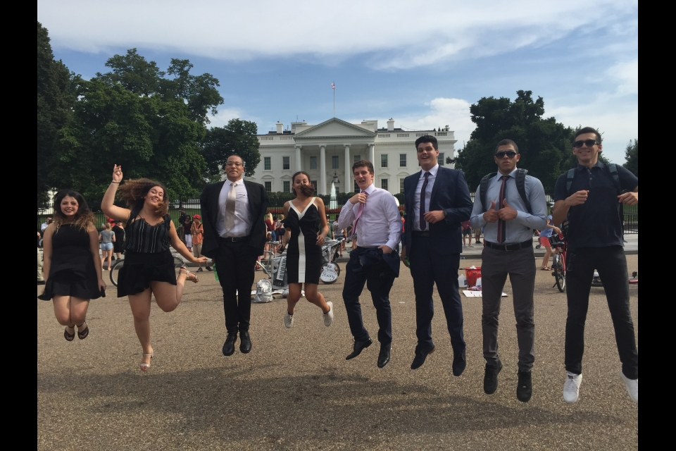 Cyprus students jumping in front of the White House
