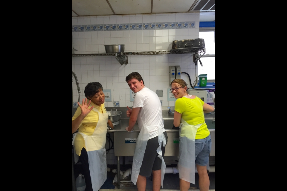 Cyprus students volunteering at a soup kitchen