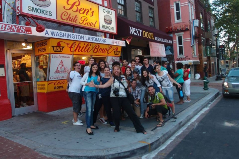 Cyprus students in front of the Ben's Chili Bowl in DC