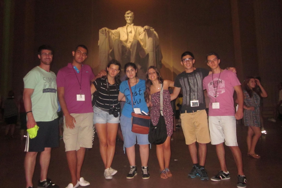 Cyprus students in front of the Lincoln Memorial