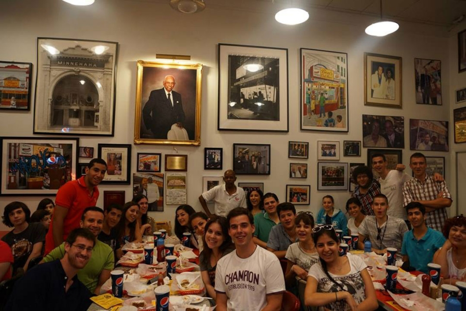 Cyprus students inside Ben's Chili Bowl