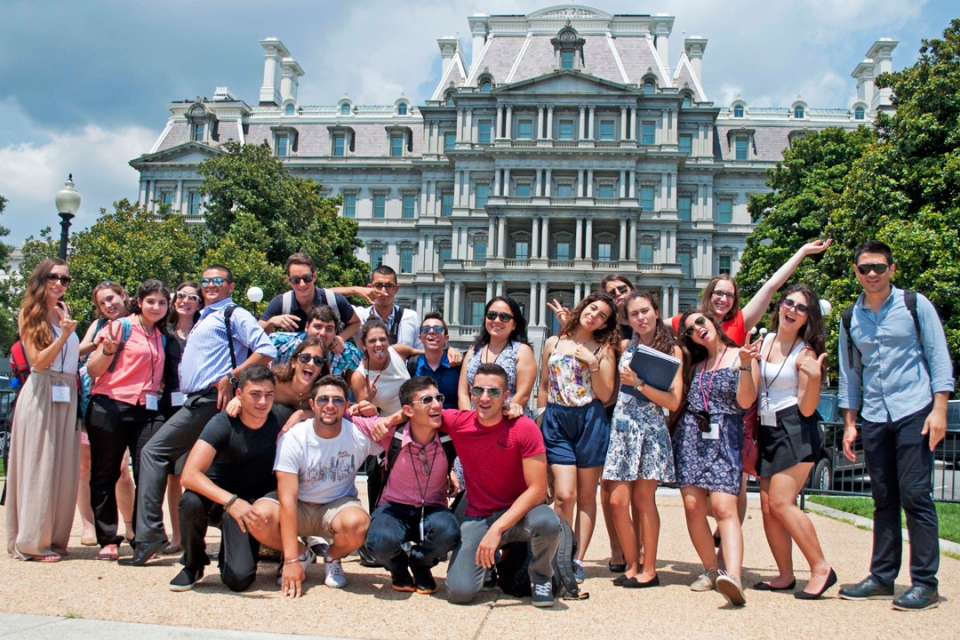 Cyprus students in front of the Eisenhower Executive Office Building in DC