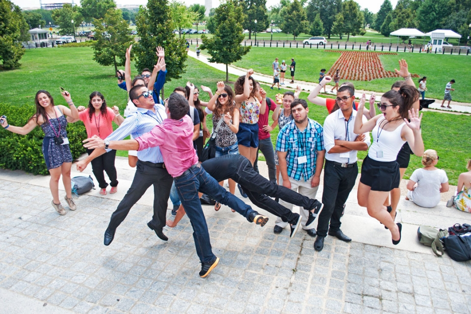 Cyprus students taking a jumping picture