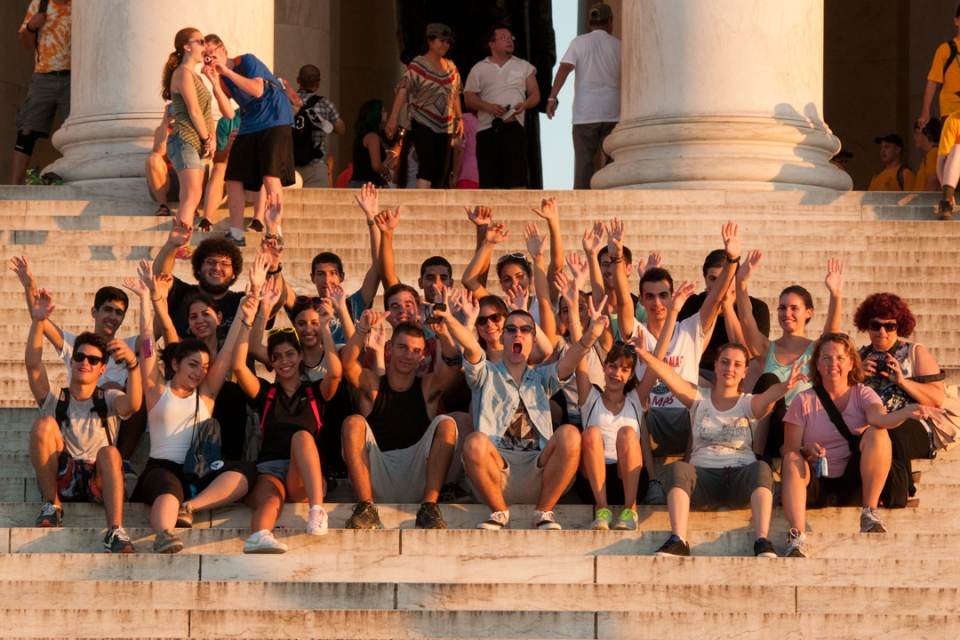 Cyprus students on the Lincoln Memorial steps