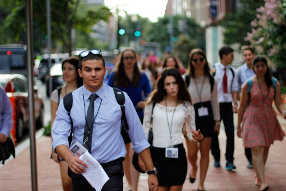 Cyprus students walking around DC