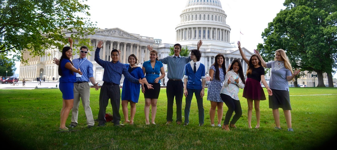 INSPIRE students outside the US Capitol building