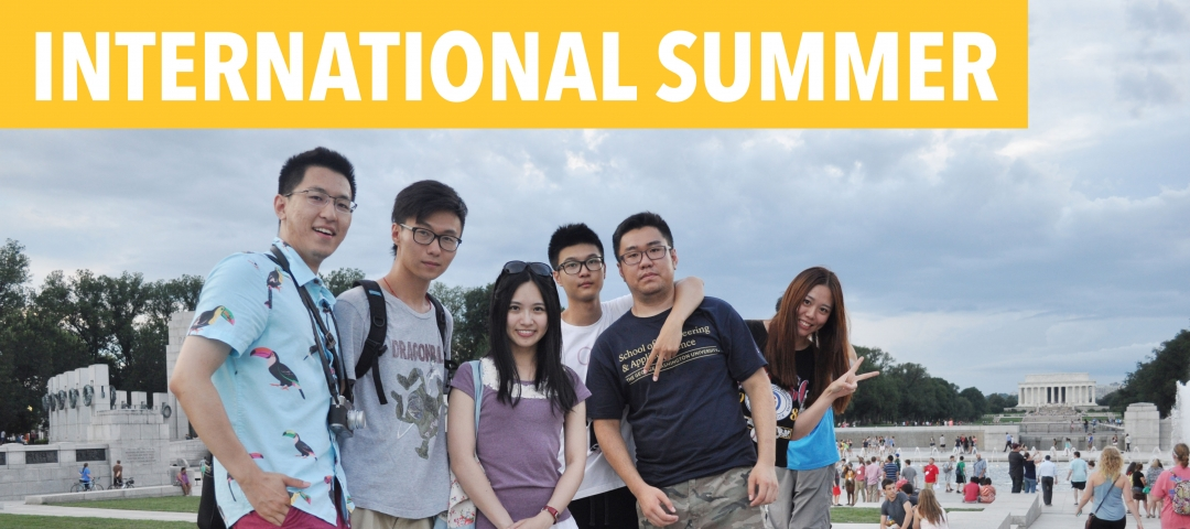 International summer students in front of the Lincoln Memorial in Washington, D.C.