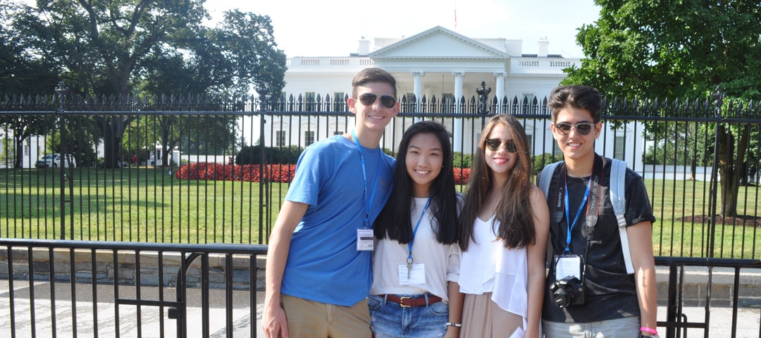 Pre-College students in front of the White House