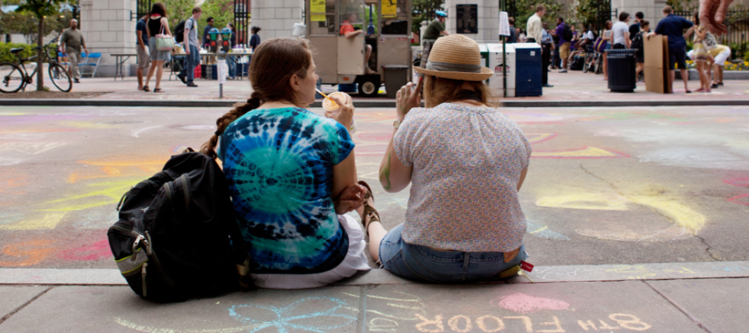 Students at GW Chalk-in