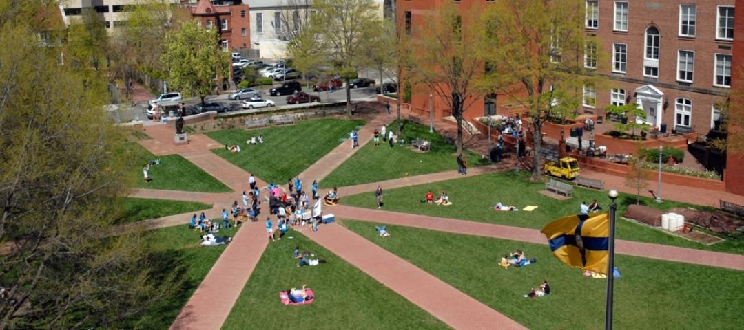 Aerial shot of University Yard on GW's Foggy Bottom campus