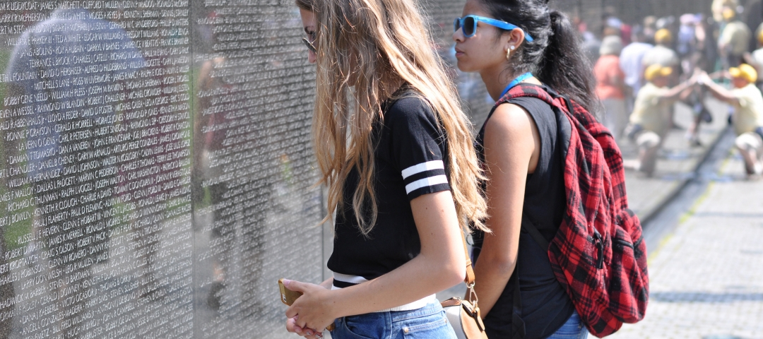 Pre-College students at the Vietnam Memorial