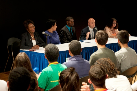 Students listening to a panel for the College Success Series