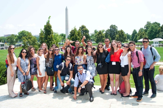 2014 Cyprus students in front of the Washington Monument in DC