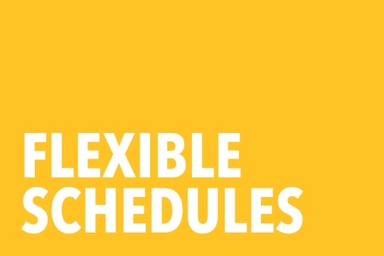 "Graphic that reads ""Flexible Schedules"""