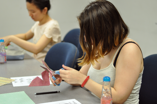 Japanese Summer Institute students making origami