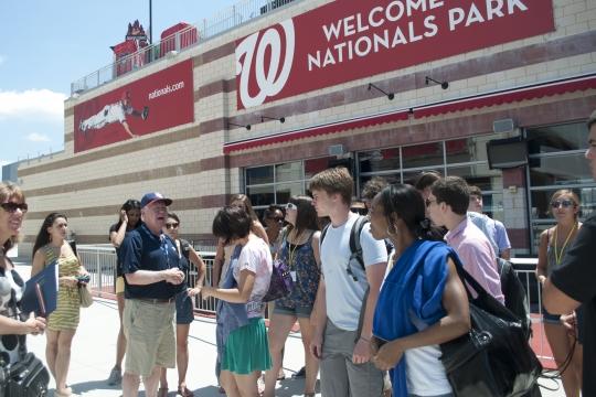 Photo of students at the Washington Nationals ball park.