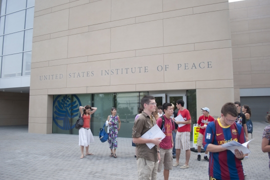 Photo of students at the Institute of Peace in D.C.