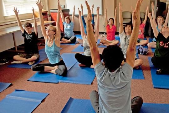 Psychology Summer Institute students doing yoga