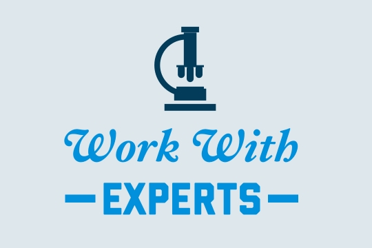 """Graphic for Research Experience that reads """"Work with Experts"""""""