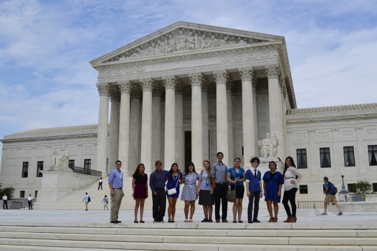 INSPIRE students in front of the Supreme Court building