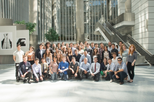 Group of students posing for a photo during a visit to the World Bank